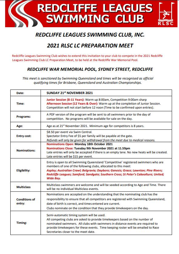Redcliffe Leagues Swimming Meet 2021