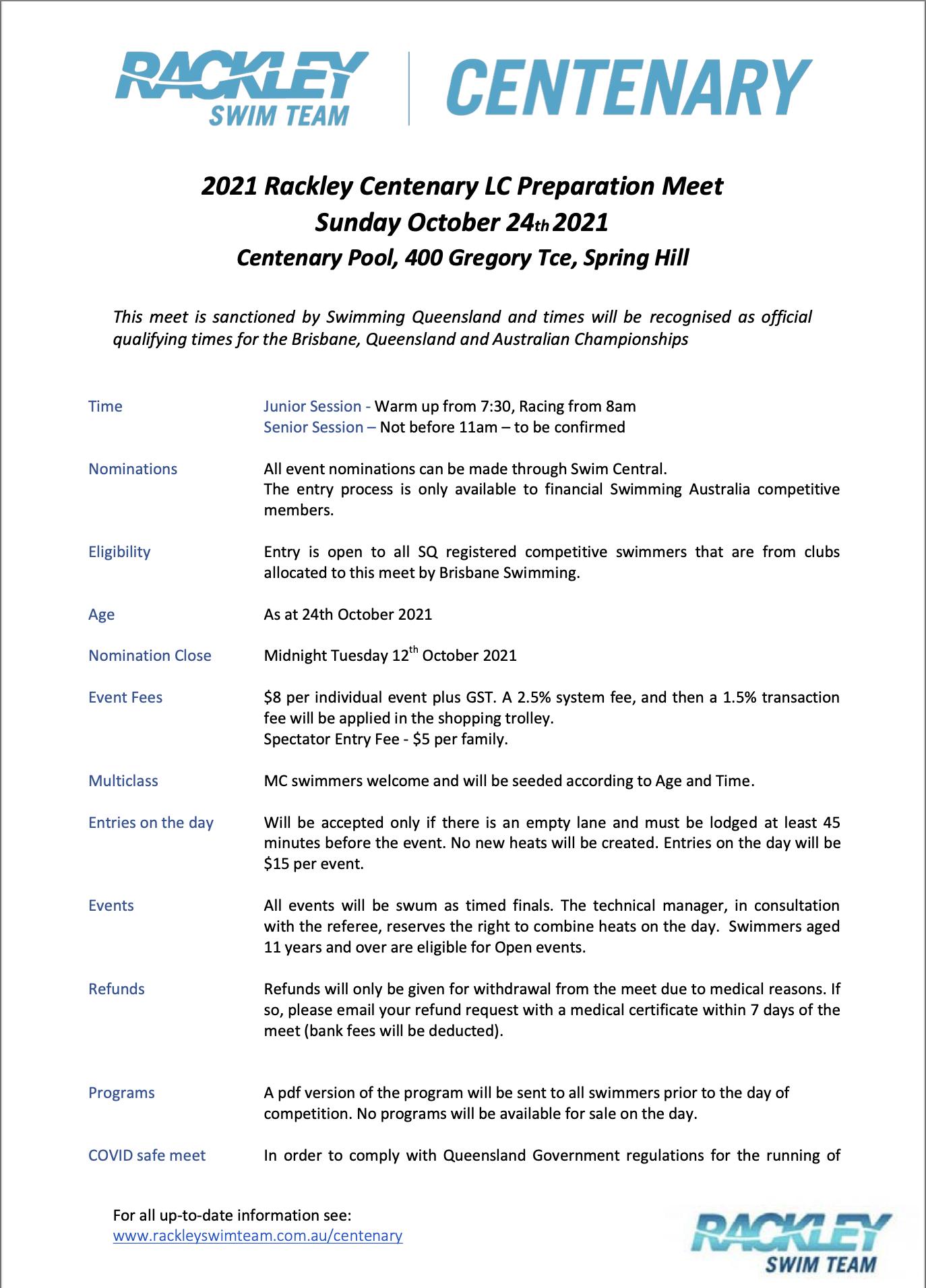 2021 Rackley Centenary LC Prep Meet - Sunday 24 October